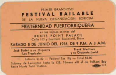 Primer Grandioso Festival Bailable de La Nueva Organización Boricua / First Grandiose Dance Festival of the New Boricua Organization