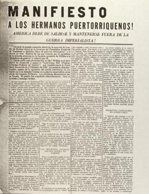 Manifesto A Los Hermanos Puertorriquenos! / Manifesto to Puerto Rican Brothers!