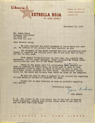 Correspondence from Librería Estrella Roja / Red Star Bookstore