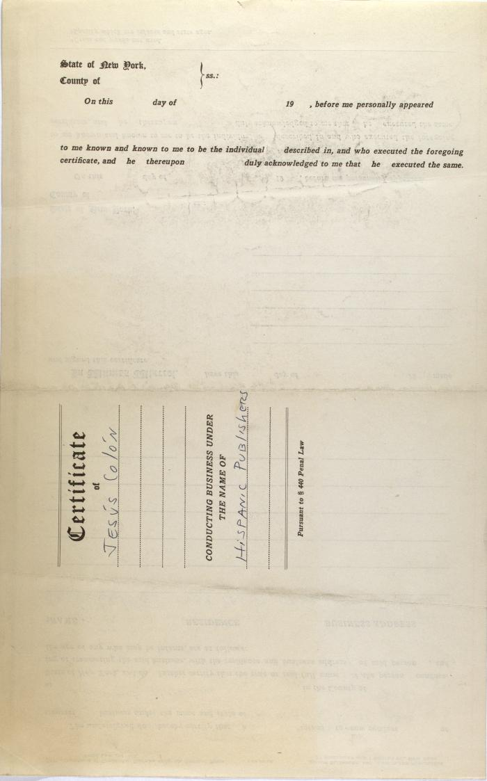 Business contract between Jesús Colón and Hispanic Publishers