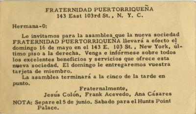 Fraternidad Puertorriqueña invitation