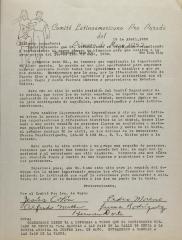 Correspondence from Comite Latinoamericano Pro Parada Del Primero de May 1952