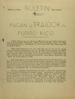 Boletín - Pagán El Traidor de Puerto Rico / Pagán, the Traitor of Puerto Rico