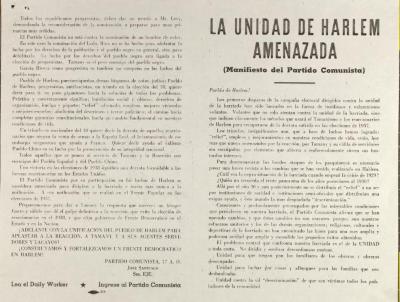 La Unidad de Harlem Amenazada (Manifiesto del Partido Comunista) / The Harlem Unite Threatened (Communist Party Manifesto)