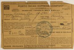 Porto Rican Express Company order statement