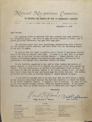 Correspondence from Paul Robeson and Judge Norval K. Harris
