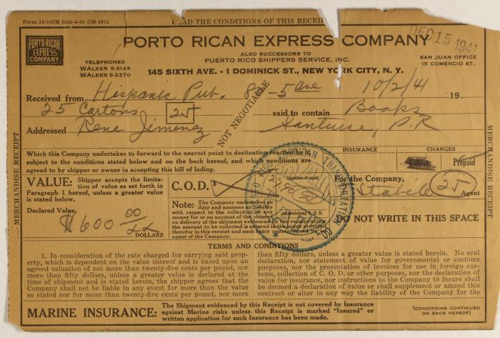 Porto Rican Express Company order statement