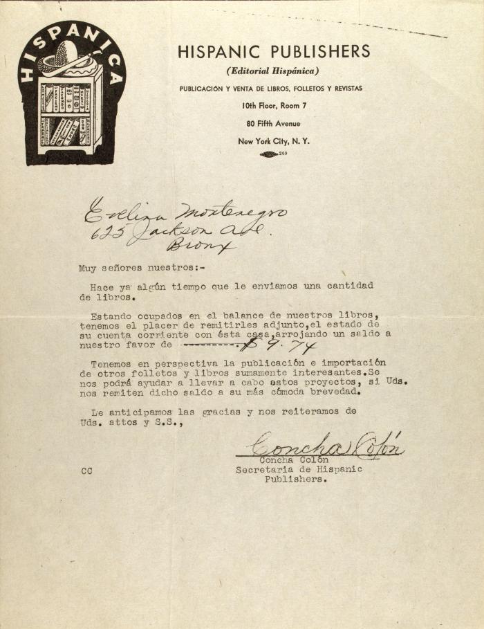 Correspondence from Concha Colón of Hispanic Publishers