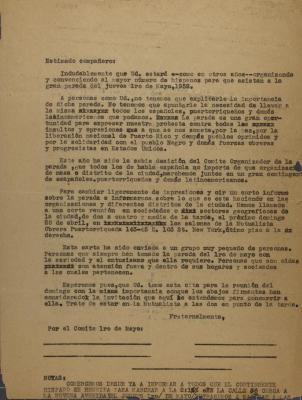 Correspondence from Comite Hispano Del Desfile De LRO. De Mayo