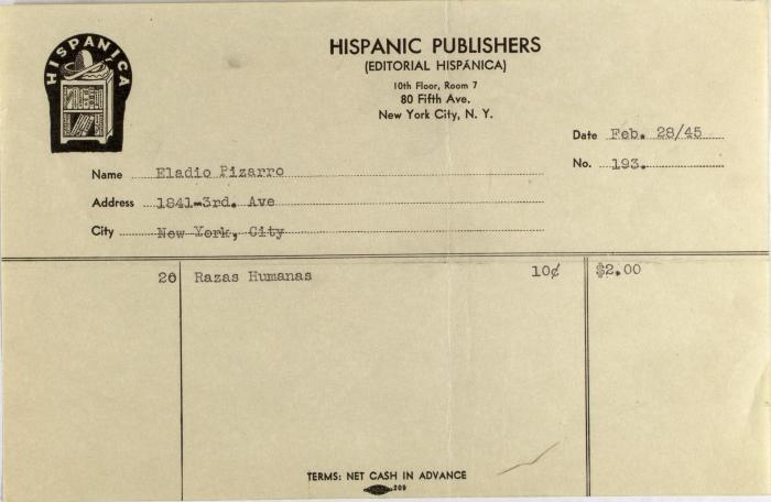 Hispanic Publishers order statement