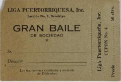 Liga Puertoriqueña invitation to Gran Baile