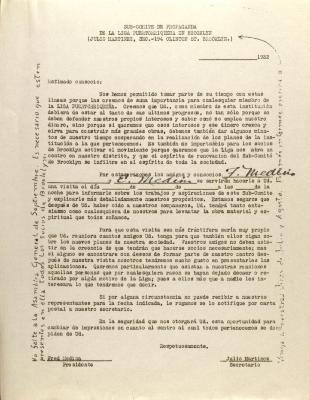 Correspondence from Liga Puertorriqueña E Hispana