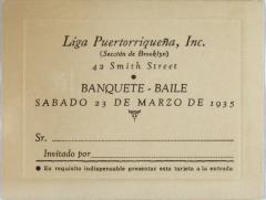 Liga Puertorriqueña invitation to Banquete-Baile