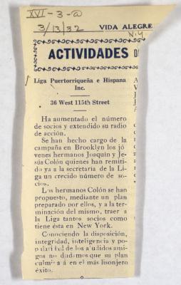 Actividades / Activities of Liga Puertorriqueña