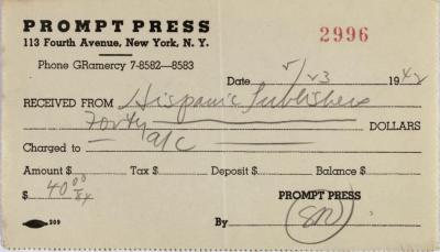 Prompt Press payment receipt