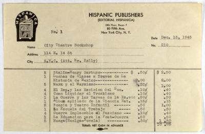 Hispanic Publishers order statement