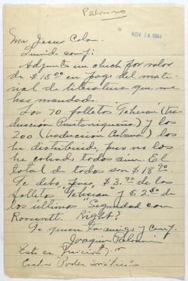 Correspondence from Joaquin Palomin