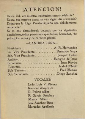 Candidates for Office in Liga Puertorriqueña