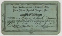 Liga Puertorriqueña E Hispana membership certificate