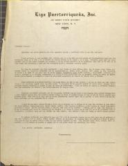 Correspondence from Liga Puertorriqueña