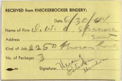 Knickerbocker Bindery order receipt