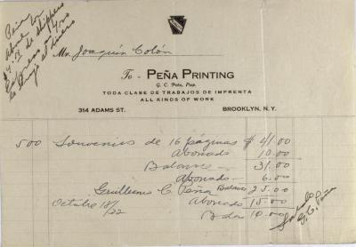 Peña Printing invoice statement
