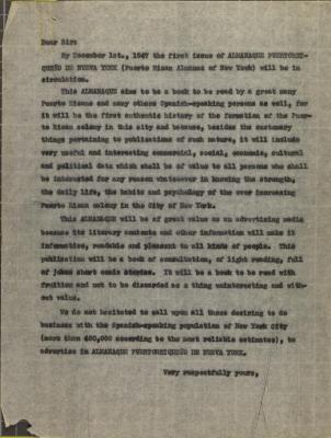 Almanaque Puertorriqueño de Nueva York correspondence
