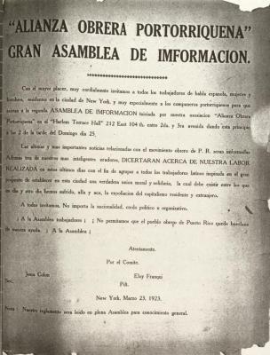 """Alianza Obrera Portorriqueña"" Gran Asamblea de Imformacion / Great Assembly of Information"