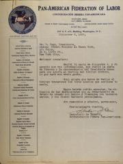 Correspondence from Pan-American Federation of Labor