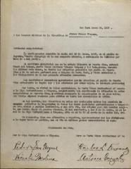 A Los Señores Miembros de la Directivas de Ateneo Obrero Hispano / To the Gentlemen Members of the Directives of Ateneo Obrero Hispano