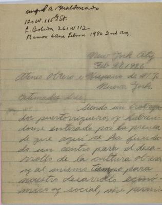 Correspondence from Ateneo Obrero Hispano de Nueva York