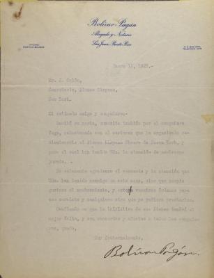 Correspondence from Bolívar Pagán