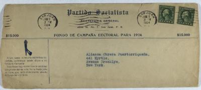 Envelope to Alianza Obrera Puertorriqueña from Partido Socialista