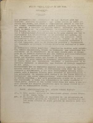 Ateneo Obrero Hispano de New York - Reglamento - Preamble