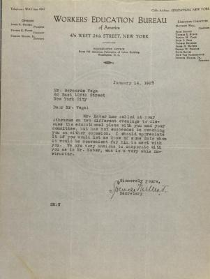 Correspondence from the Workers Education Bureau of New York