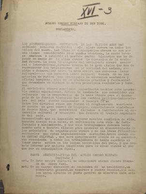 Ateneo Obrero Hispano de Nueva York - Reglamento / Regulation
