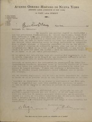 Correspondence from Bernardo Vega and Jesús Colón