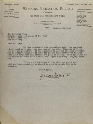 Correspondence from Workers Education Bureau of America