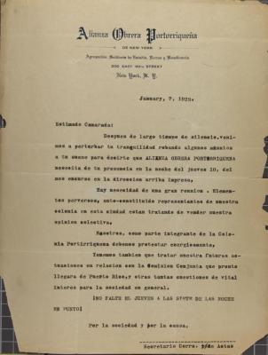 Letter from Alianza Obrera Portorriqueña