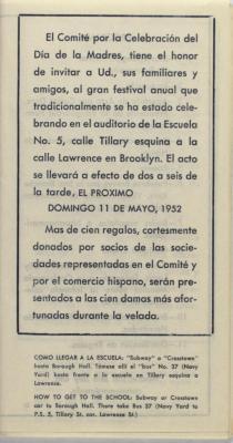 Comité Para El Día De Las Madres pamphlet