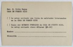 Membership card for La Casa de Puerto Rico