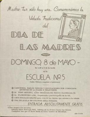 Comité Para El Día De Las Madres flyer