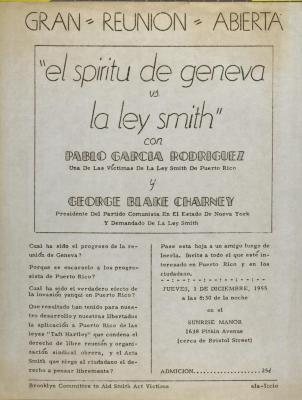 El Espiritu de Geneva vs. La Ley Smith / The Spirit of Geneva vs. The Smith Act