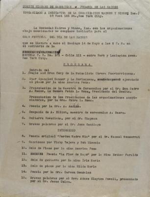 Program for Comité Para El Día De Las Madres and Comité Hispano de Manhattan