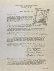 Correspondence from Comité Para El Día De Las Madres / Committee for Mother's Days