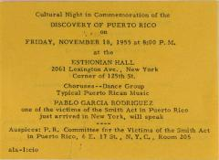 Cultural Night in Commemoration of the Discovery of Puerto Rico