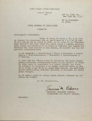 Club Cubano Interamericano - Junta General de Elecciones - Citación / General Elections Board - Citation