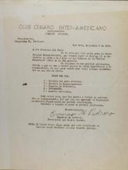 Correspondence from Club Cubano Interamericano