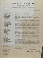 Correspondence from Casa de Puerto Rico