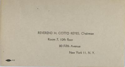 Envelope to Reverend H. Cotto Reyes